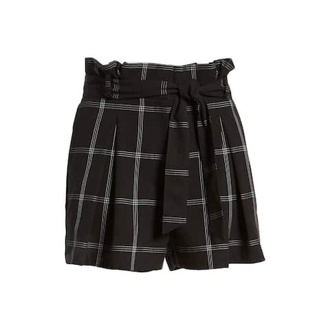 LEITH Women's Black Size XL Belted Windowpane Plaid Casual Shorts