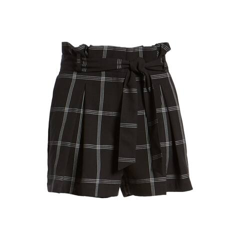 LEITH Womens Shorts Black Size Medium M Paperbag Windowpane Check