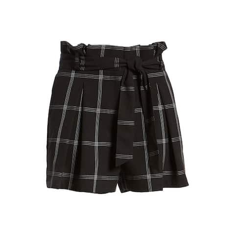 LEITH Womens Shorts Black Size XXL Plus Paperbag Windowpane Check