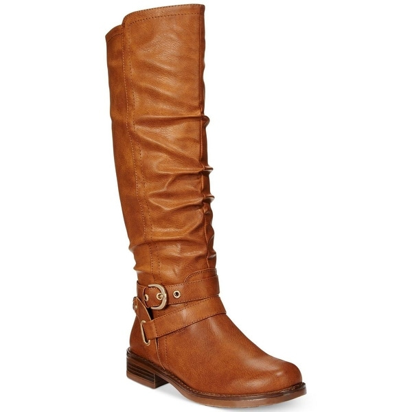 XOXO Womens Martin Riding Boots Faux Leather Buckle - 5 medium (b,m)