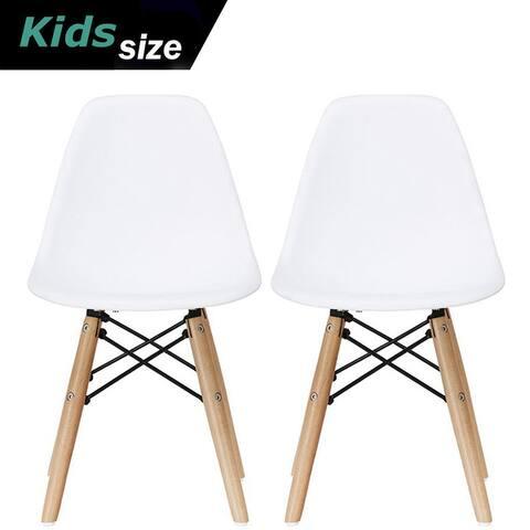 Set of 2 White Modern Plastic Wood Natural Kids Toddler Chairs Children Child Activity Daycare School Kitchen Desk Work