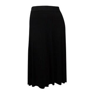 Alfani Women's Solid Elastic Waist Knit A-Line Midi Skirt