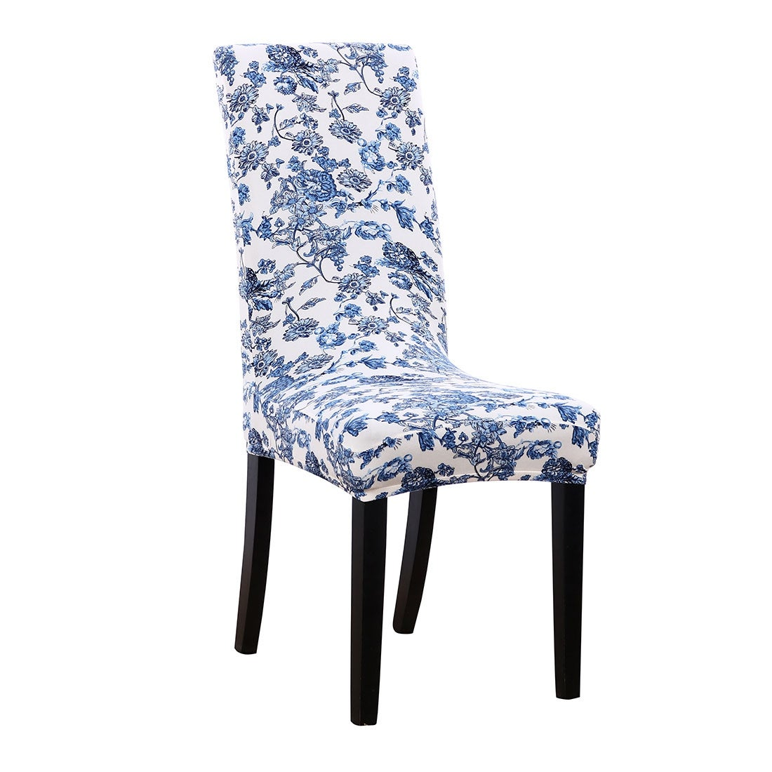 Shop Household Spandex Stretchy Dining Chair Seat Cover Protector White Blue Floral Pattern B Overstock 28962379