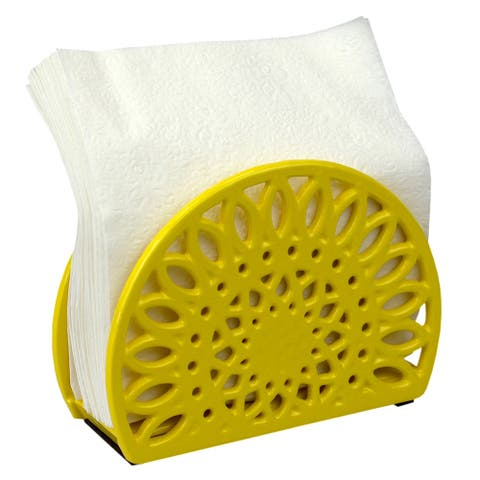Home Basics Sunflower Collection Cast Iron Napkin Holder, 6.1x5.3x1.8 Inches