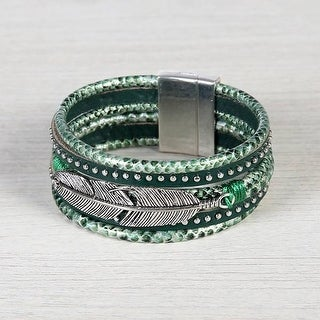 Mad Style Green Leather Truth Feather Wrap