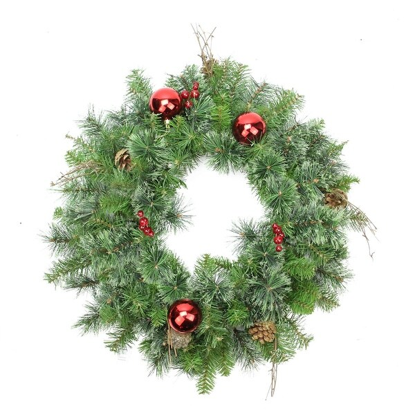 "24"" Pre-Decorated Mixed Pine Artificial Christmas Wreath - Unlit - green"