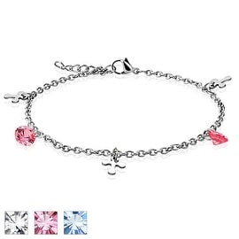 Dangle Cross CZ Charm 316L Stainless Steel Chain Anklet/Bracelet (13.5 mm) - 9.25 in