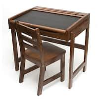 Lipper 554Wn Child's Chalkboard Desk And Chair - Walnut Finish (2-Piece Set)