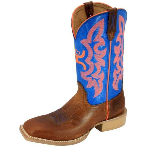HOOey Western Boots Womens Cowboy Square 12 Inch Neon Blue