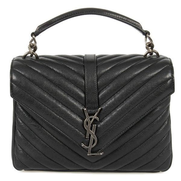 bfeb3e1d83e Saint Laurent Classic Medium Monogram Black Matelasse Leather College Bag