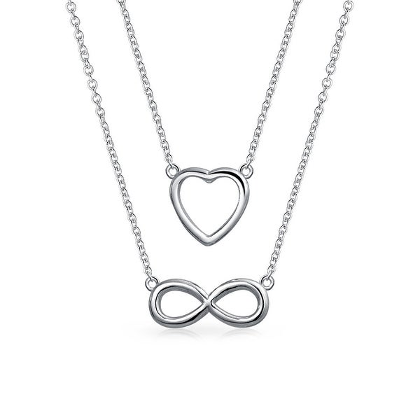 e97409b0c44e Shop Set OF 2 Minimalist Open Heart Infinity Pendants Necklace For Women  For Teens For Girlfriend Shinny 925 Sterling Silver - On Sale - Free  Shipping On ...