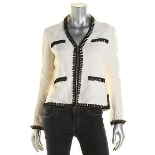 St John Womens Knit Wool Open-Front Blazer - 4