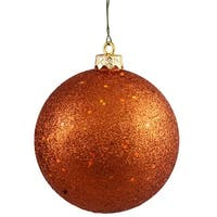 "Burnt Orange Holographic Glitter Shatterproof Christmas Ball Ornament 4"" (100mm)"