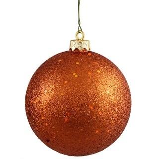 """Burnt Orange Holographic Glitter Shatterproof Christmas Ball Ornament 4"""" (100mm)"""