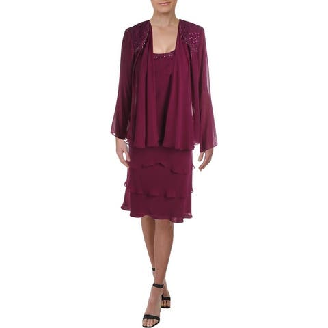 SLNY Womens Dress With Jacket Embellished Ruffled - Boysenberry