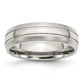 Stainless Steel Grooved 6mm Brushed and Polished Band