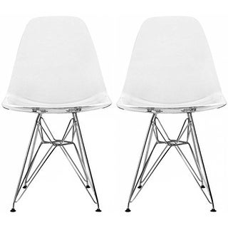 Lovely 2xhome Set Of 2 , Clear Dining Chair Plastic Chairs Polycarbonate Arcylic  Wire Base Modern