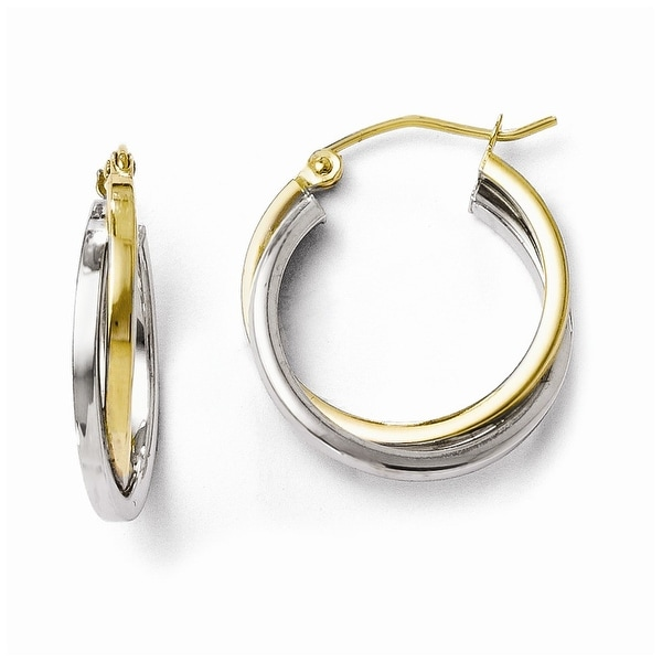 10k Two-Tone Gold Polished Hinged Hoop Earrings