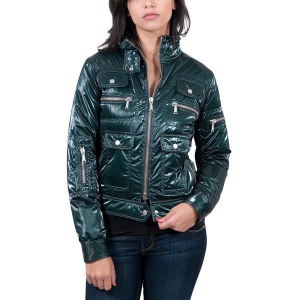 Aureka Verde Forest Green Padded Women's Cropped Jacket