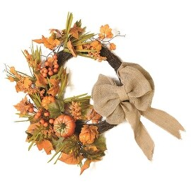 "20"" Autumn Harvest Decorative Artificial Pumpkins Berries and Leaves Wreath with Burlap Bow - Unlit"