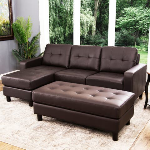 Abbyson Montgomery Reversible Bonded Leather Sectional and Ottoman