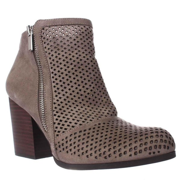 B35 Penny Perforated Double Zip Booties, Nimbus Grey