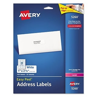 """Avery Easy Peel Label Address Laser Printer 1x2 , 5/8 25 White-750/pack Easy Peel Label Address Laser Printer 1x2 , 5/8 25"
