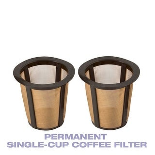 GoldTone Single Cup Reusable Coffee Filters Only for Keurig Style Brewers, 2 Pack-Larger Filter Holds 33% More Coffee