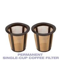 GoldTone Single Cup Reusable Coffee Filters Only For Keurig Style Brewers 2 Pack Larger