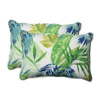 """Set of 2 Blue and Green Caribbean Forest Outdoor Corded Throw Pillows 24.5"""""""