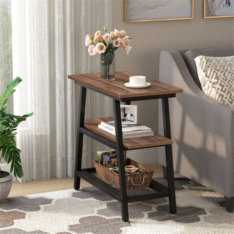 End Table, Side Table with 3-Tier Storage Shelf,