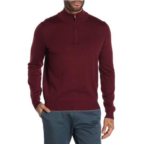 Thomas Dean Mens Quarter Zip Wool Blend Sweater XXL Burgundy