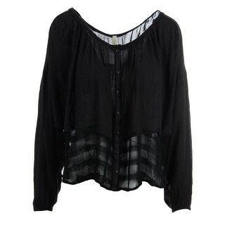 Free People Womens Pullover Top Long Sleeves Button-Down