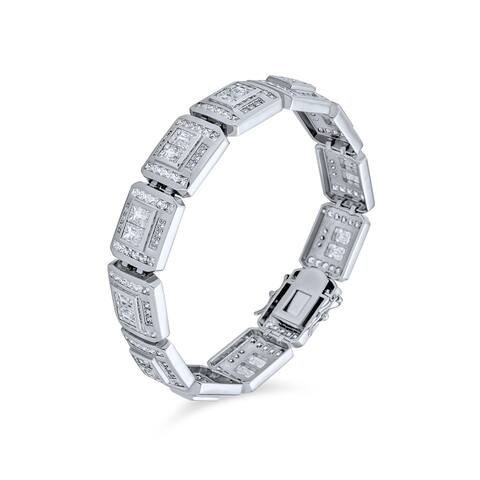 Invisible Cut Cubic Zirconia CZ Link Bracelet For Men Silver Plated - 8.5