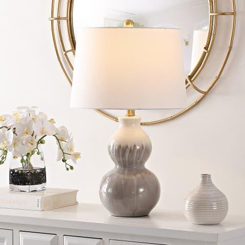 "SAFAVIEH Lighting Kenzo Ivory/Moss Green Ceramic LED Table Lamp - 15"" W x 15"" L x 24.5"" H"