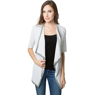 Bordeaux Womens Cardigan Top Heathered Open Front