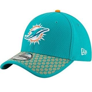 New Era Mens  Miami Dolphins 39Thirty Sideline Hat, Aqua/Orange