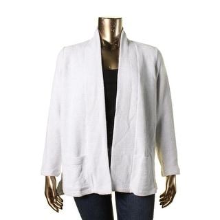 Eileen Fisher Womens Plus Open Front Birdseye Knit Cardigan Sweater - 1X
