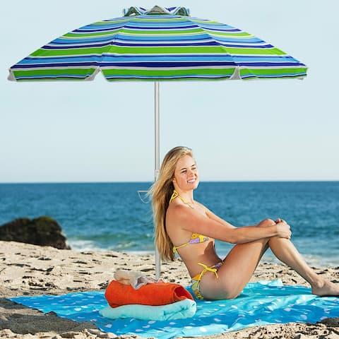 Costway 6.5FT Patio Beach Umbrella Sun Shade Tilt W/Carry Bag