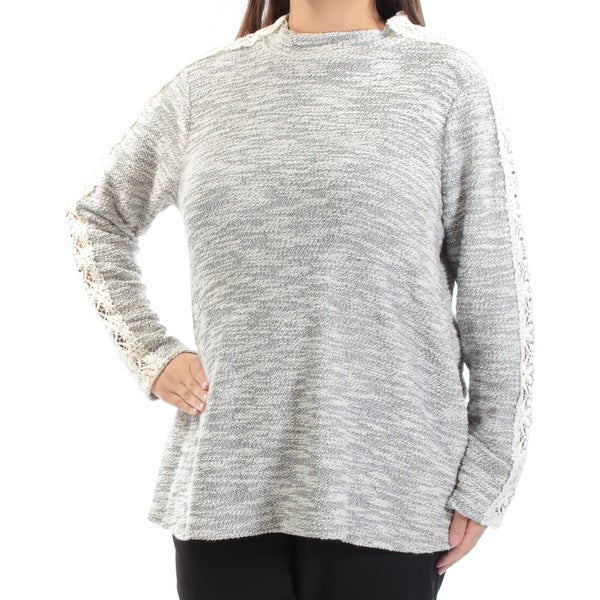 Womens Ivory Gray Long Sleeve Crew Neck Casual Sweater Size 1X