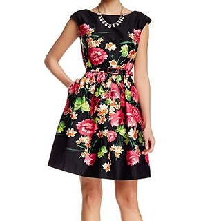 Eliza J Floral Print Women Pleated Belted Dress, EJ6M1037, Black/Multi, 4