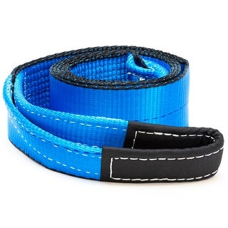"""3"""" x 8' Winch Recovery Towing Pull Strap Tree Saver 4x4 Off Road Tow Rope Chain - Blue"""