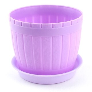Garden Plastic Cylinder Plant Grass Flower Vegetable Planting Holder Pot Purple