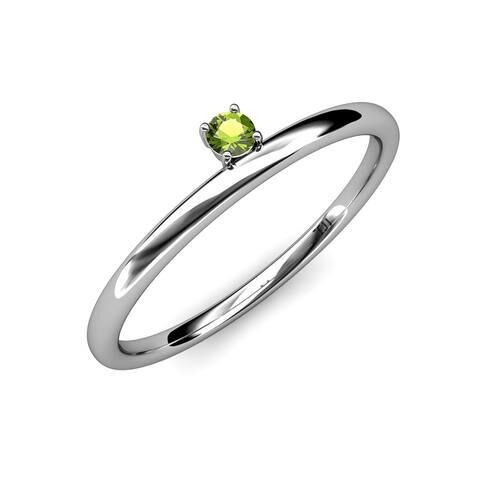 TriJewels Peridot Women Solitaire Asymmetrical Stackable Ring 14K Gold