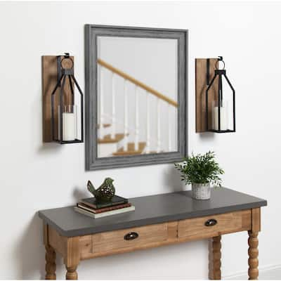Kate and Laurel - Oakly Wood and Metal Wall Sconce Candle Holder - 7x19