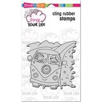 """Whisper Friends - Van - Stampendous Pink Your Life Cling Stamp 6.5""""X4.5"""""""