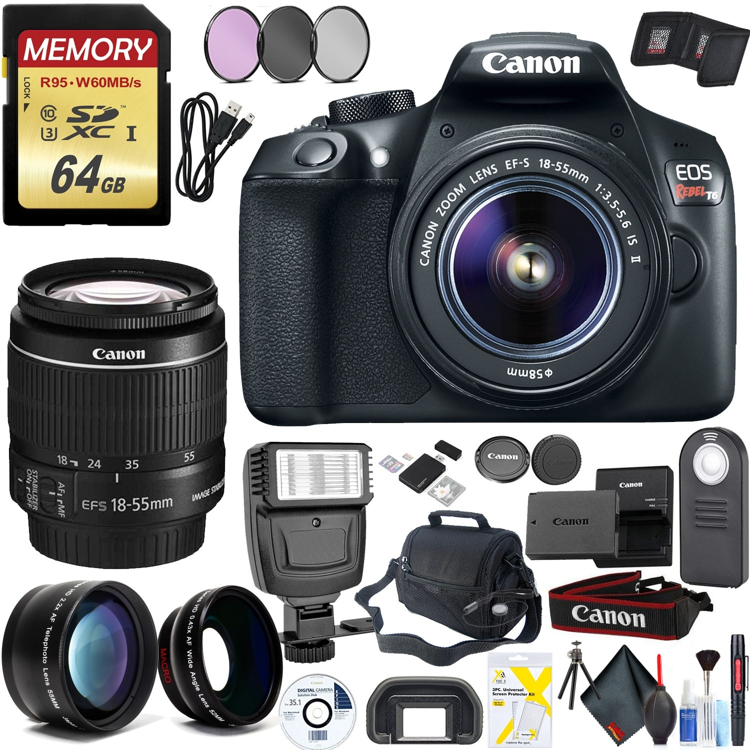 Canon Rebel T6 DSLR Camera & 18-55mm Lens Combo