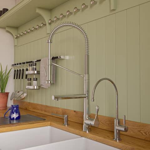 Polished Chrome Double Spout Commercial Spring Kitchen Faucet