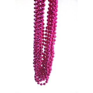 Hot Pink Metallic Throw Bead Necklaces