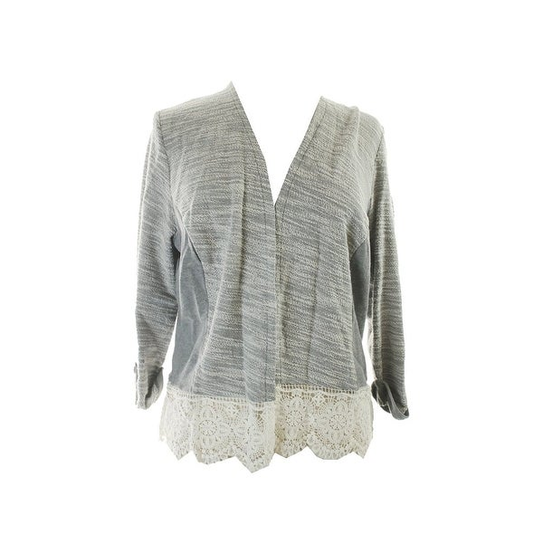 INC International Concepts Mixed Media Open Front Cardigan Sweater - xL